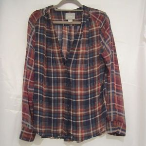 "Anthro Maeve M Plaid Shirt Pleated 44"" Bust Fall"
